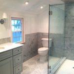 Closet conversion into marble bathroom